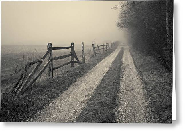 Old Farm Road Toned Greeting Card