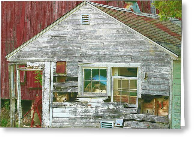 Old Farm Shed Greeting Card by Elaine Frink