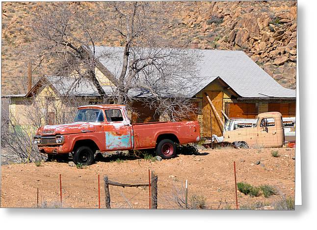 Old Farm Trucks Along Route 66 Greeting Card