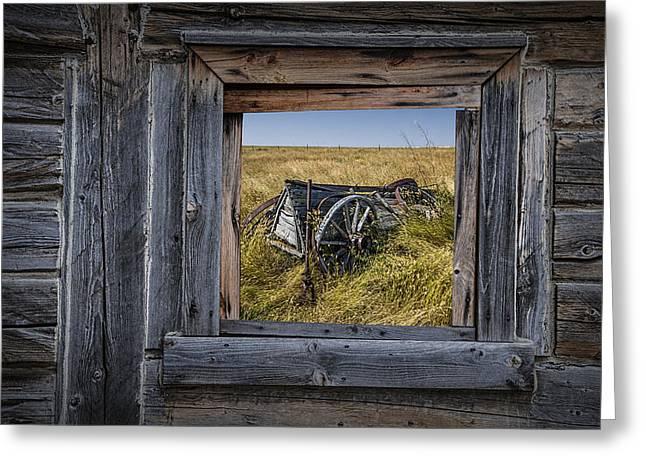 Old Farm Wagon Viewed Through A Barn Window Greeting Card