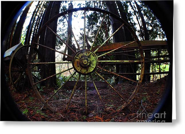 Old Farm Wagon Wheel Greeting Card by Clayton Bruster