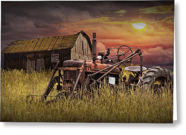 Old Farmall Tractor With Barn For Sale Greeting Card by Randall Nyhof