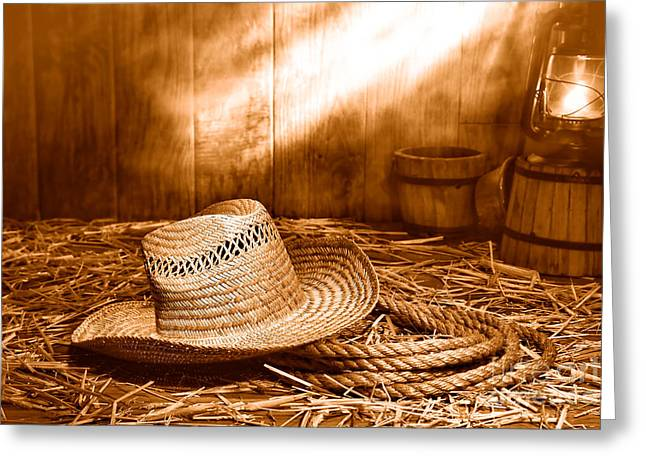 Old Farmer Hat And Rope - Sepia Greeting Card by Olivier Le Queinec