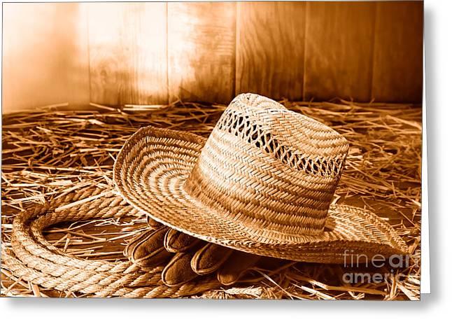 Old Farmer Hat In Hay Barn - Sepia Greeting Card