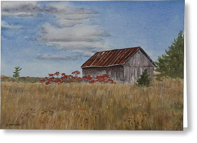 Old Farmer's Barn Greeting Card by Debbie Homewood