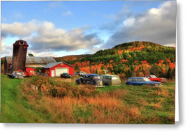 Old Farmhouse, Silo And Old Cars In Autumn Greeting Card by Joann Vitali