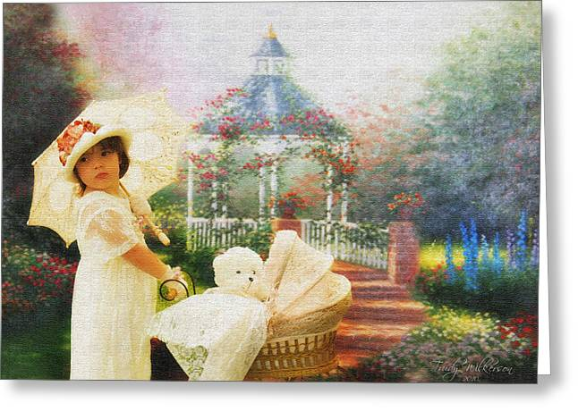 Old Fashion Child Strolling Greeting Card by Trudy Wilkerson