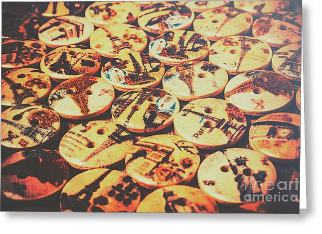 Old Fashion Landmark Buttons Greeting Card