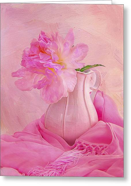 Old Fashion Pink Peony Greeting Card