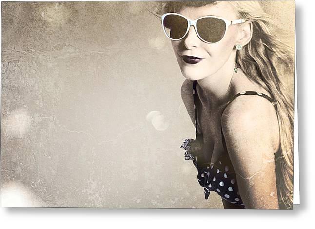 Old Fashion Rockabilly Girl Greeting Card