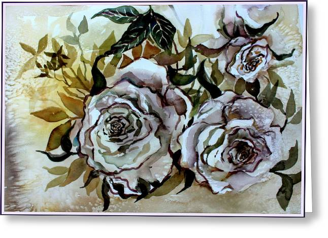 Old Fashion White Roses Greeting Card by Mindy Newman
