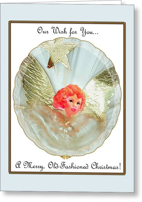 Greeting Card featuring the digital art Old Fashioned Angel Topper by Ellen Barron O'Reilly