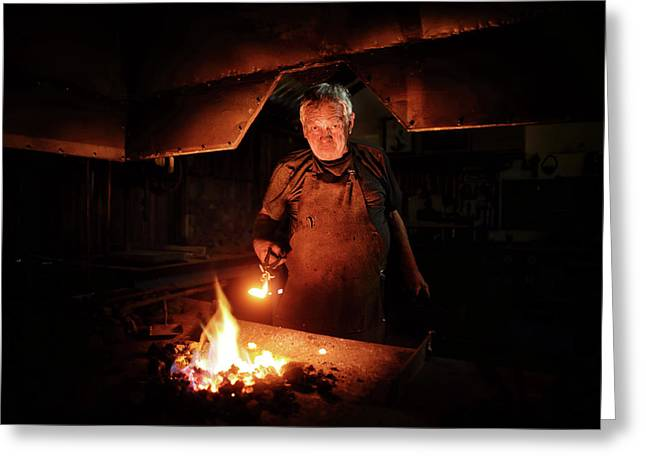 Old-fashioned Blacksmith Heating Iron Greeting Card