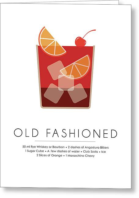Old Fashioned Classic Cocktail -  Minimalist Print Greeting Card