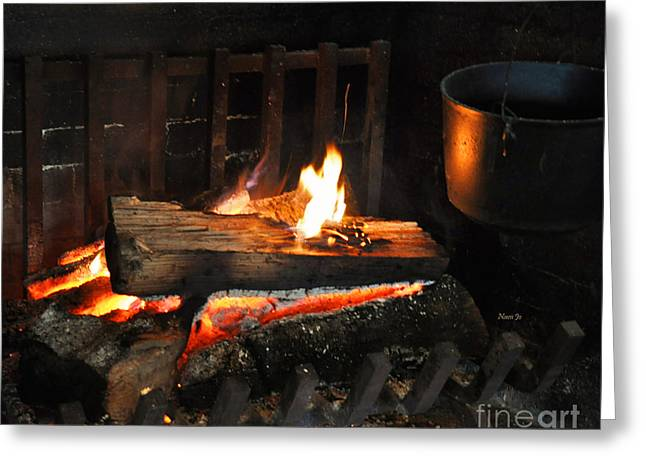 Old Fashioned Fireplace Greeting Card
