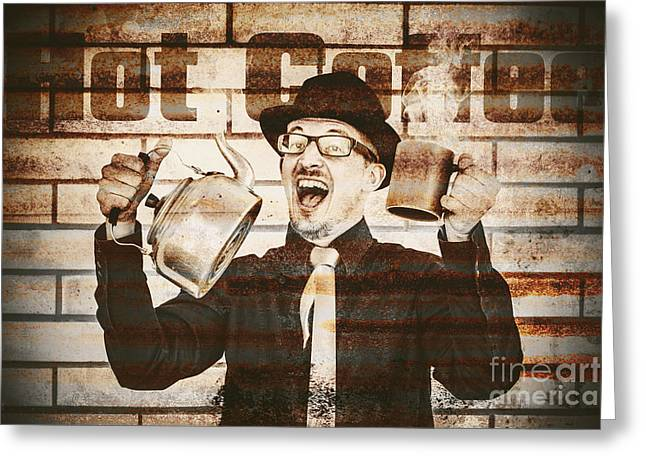 Old Fashioned Gent Cheering To Hot Coffee Greeting Card