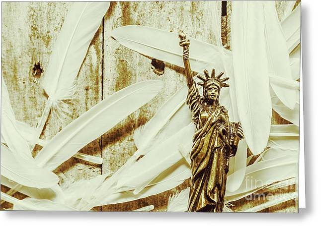 Old-fashioned Statue Of Liberty Monument Greeting Card