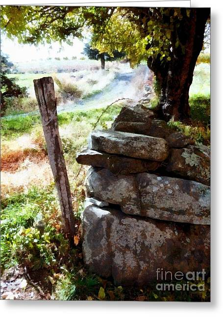 Old Fence Post Orchard Greeting Card by Janine Riley