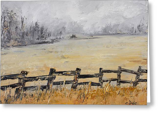 Old Fence Row Greeting Card by Carolyn Doe