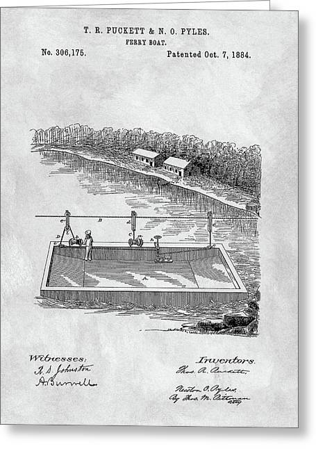 Old Ferryboat Patent Greeting Card by Dan Sproul