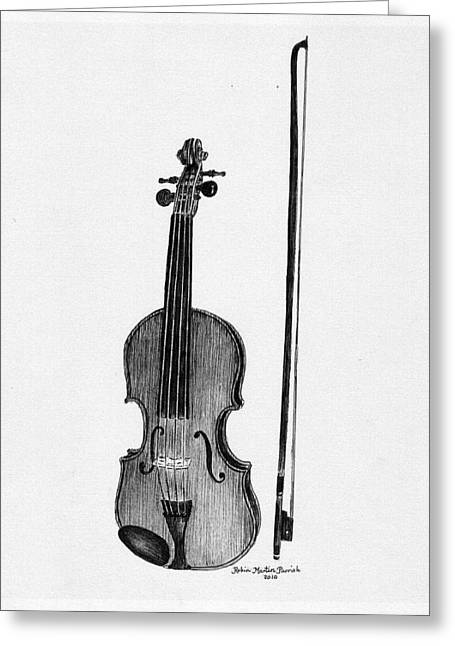 Music Time Drawings Greeting Cards - Old Fiddle Greeting Card by Robin Martin Parrish
