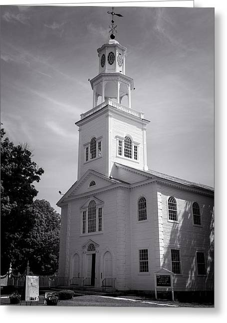 Old First Church Of Bennington - Bw Greeting Card by Stephen Stookey