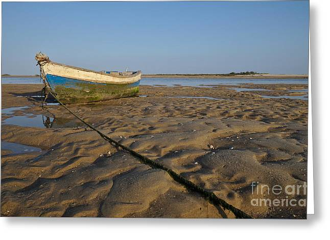 Old Fishing Boat And Low Tide Greeting Card by Angelo DeVal