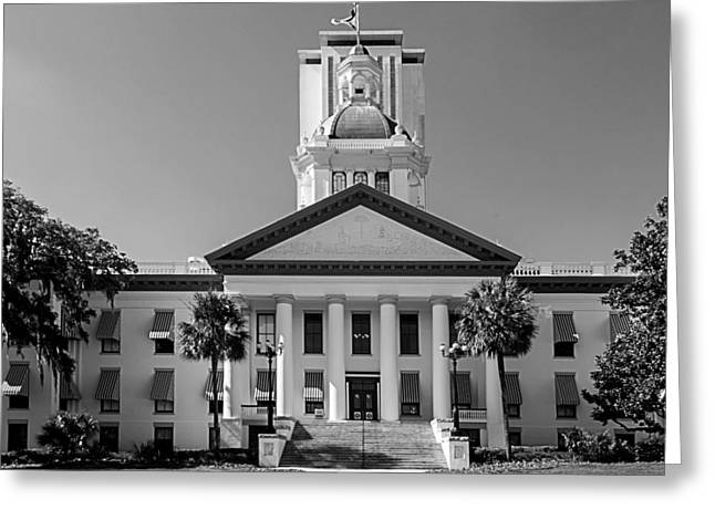 Old Florida Capitol In Black And White  Greeting Card by Frank Feliciano