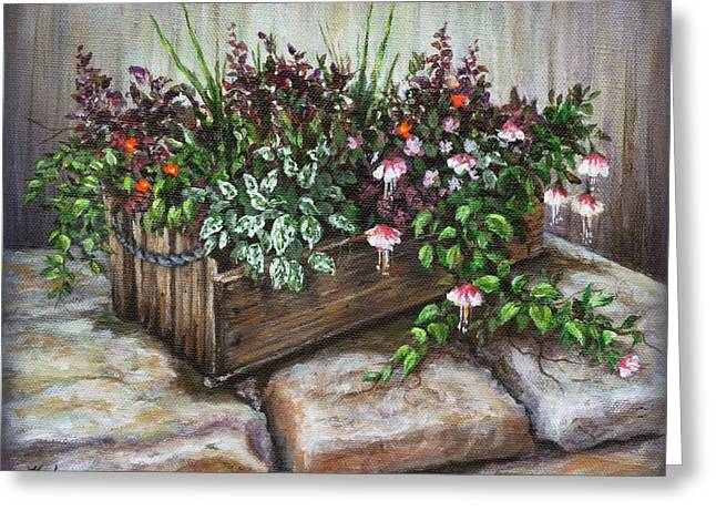 Greeting Card featuring the painting Old Flower Box by Kim Lockman