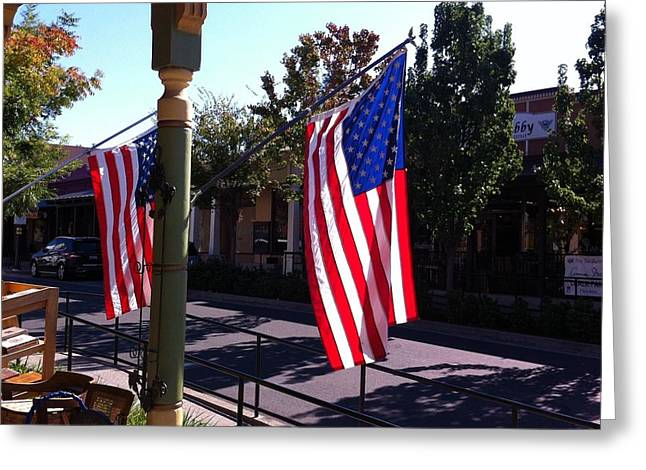 American Flags In Old Folsom Greeting Card by Flo DiBona