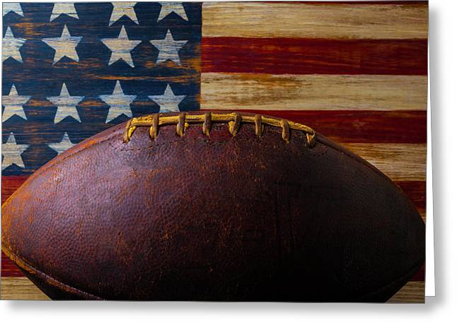 Old Football And Wood Flag Greeting Card by Garry Gay