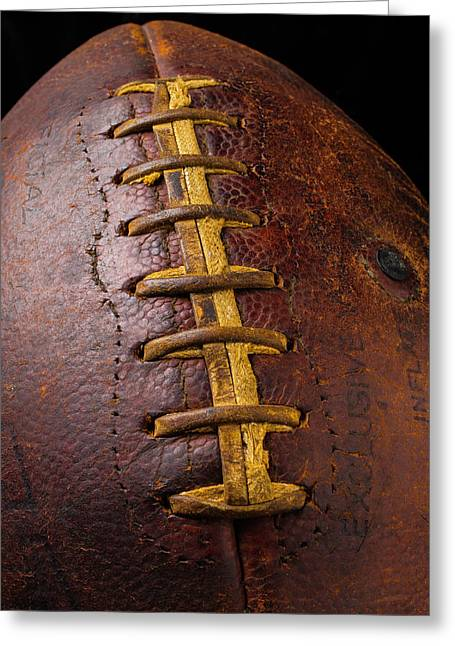 Old Football Close Up Greeting Card by Garry Gay