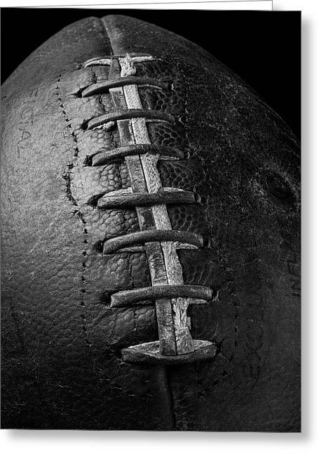 Old Football In Black And White Greeting Card by Garry Gay