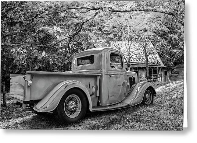 Old Ford At The Farm In Black And White Greeting Card