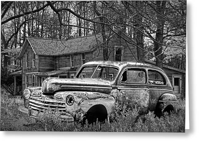 Old Ford Coupe In Black And White By An Abandoned Farm House Greeting Card