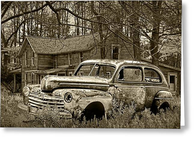 Old Ford Coupe In Sepia Tone Greeting Card