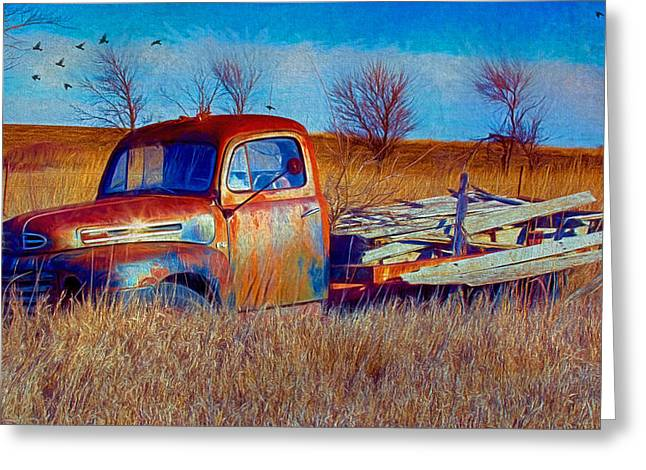 Old Ford F5 Truck Abandoned In Field Greeting Card