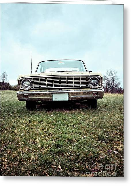 Old Ford Sedan In The Field Greeting Card by Edward Fielding