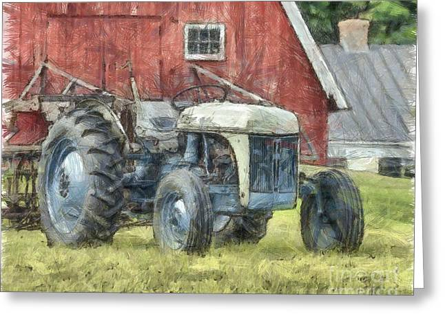 Old Ford Tractor Colored Pencil Greeting Card by Edward Fielding