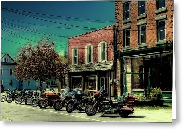 Old Forge Harley's - Vintage Postcard Greeting Card by David Patterson