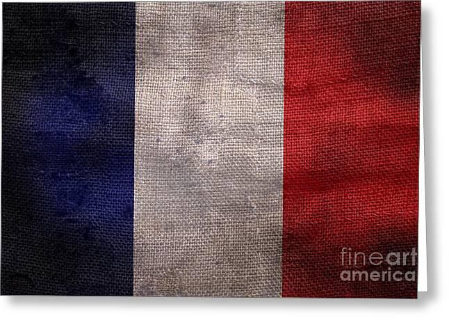 Old French Flag Greeting Card by Jon Neidert