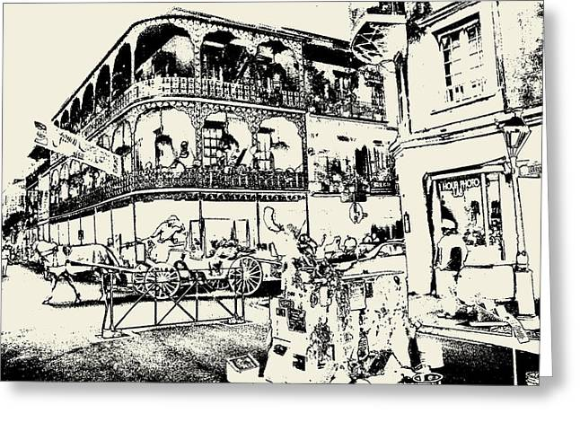 Old French Quarter New Orleans - Ink Greeting Card by Art America Online Gallery