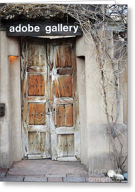 Greeting Card featuring the photograph Old Gallery Door by Andrea Hazel Ihlefeld