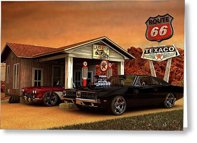 Greeting Card featuring the photograph Old Gas Station American Muscle by Louis Ferreira