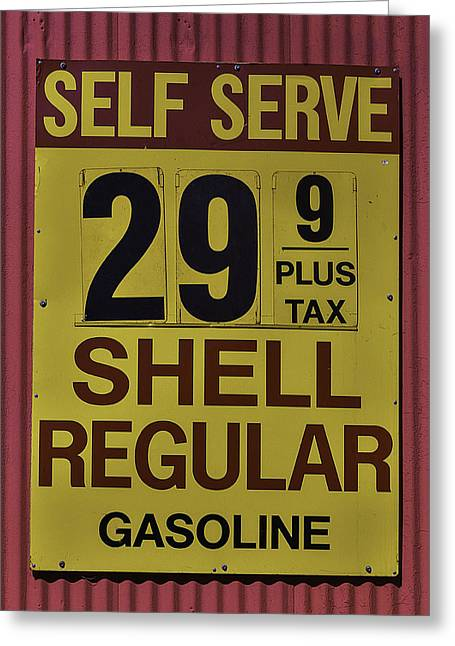 Old Gasoline Sign Greeting Card by Garry Gay