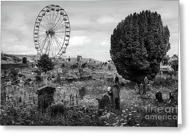 Old Glenarm Cemetery And Big Wheel Bw Greeting Card by RicardMN Photography