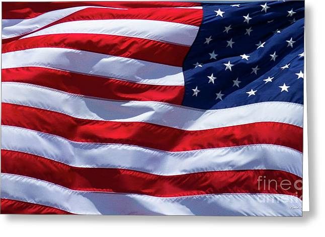 Greeting Card featuring the photograph Stitches Old Glory American Flag Art by Reid Callaway