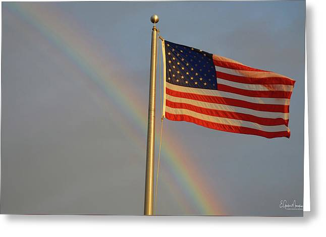 Old Glory And Rainbow Greeting Card