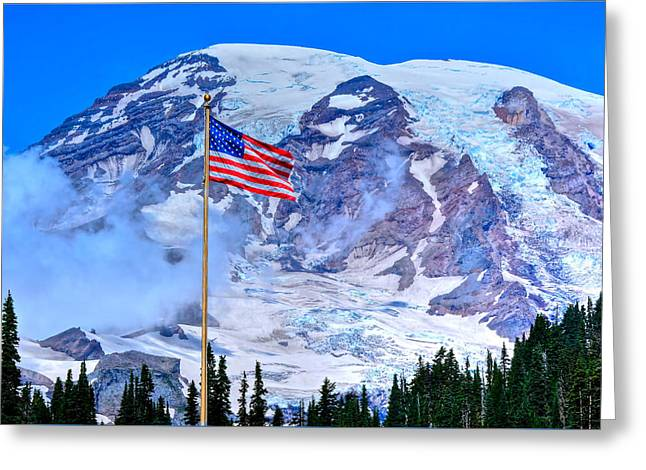 Old Glory At Mt. Rainier Greeting Card