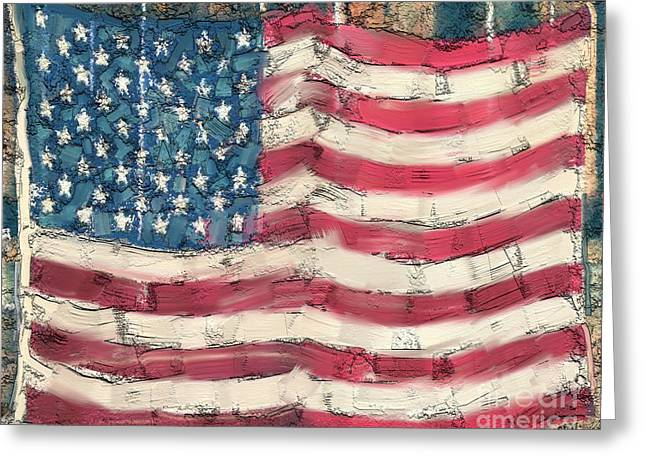 Greeting Card featuring the painting Old Glory by Carrie Joy Byrnes